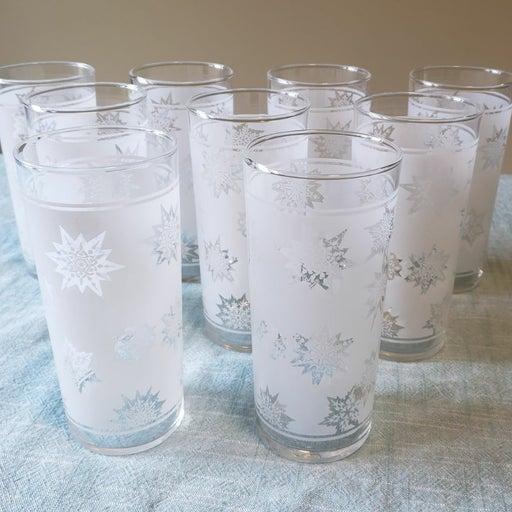 Vintage Federal Glass Snowflake Tumblers