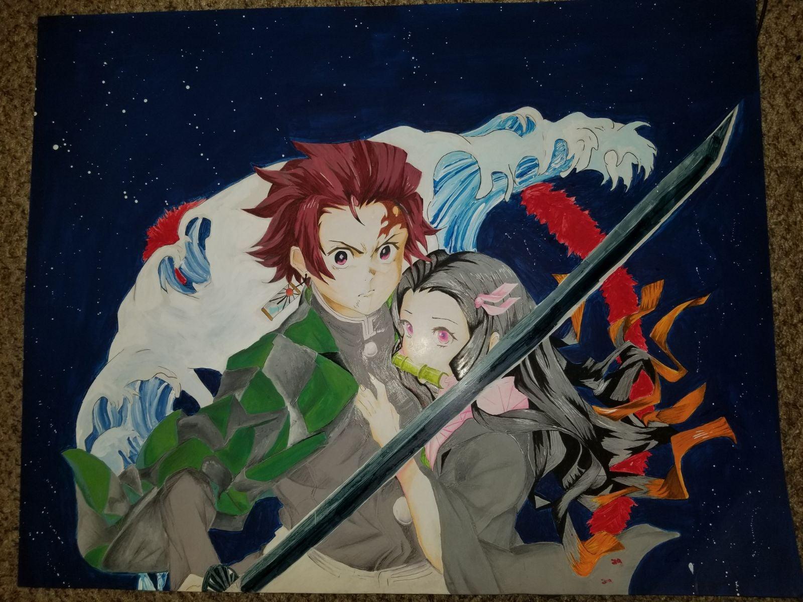 Nezuko /Tanjiro Demon Slayer prismacolor