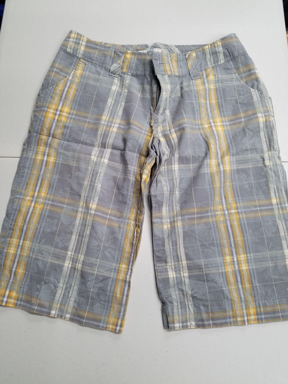 SO yellow and grey plaid shorts