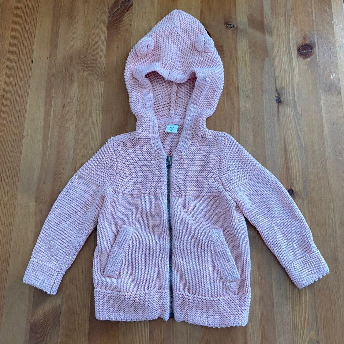 BABY GAP Sz 2T Pink knitted Bear Hoodie