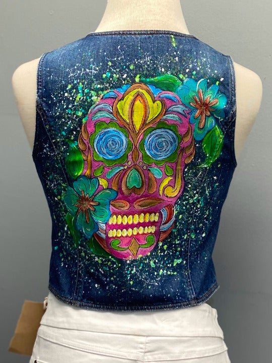 American Eagle Denim Vest With Artwork