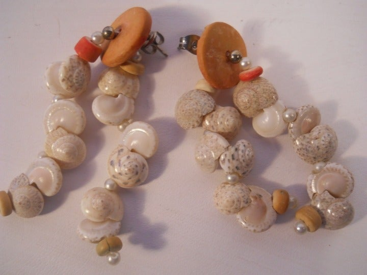 Snail Shells Dangle Drop Earrings Posts