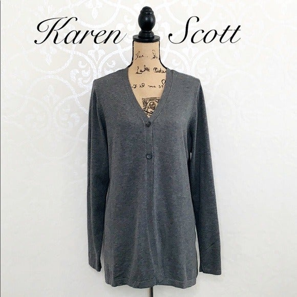 KAREN SCOTT GREY CARDIGAN SWEATER XL