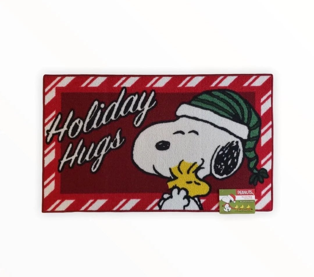 "Peanuts Snoopy /& Woodstock /""HOLIDAY HUGS/"" Christmas Greeting Accent Rug Doormat"