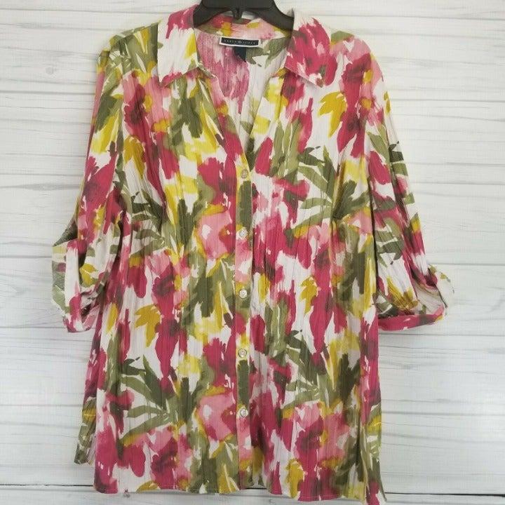 Karen Scott Woman 1X Button Blouse P15