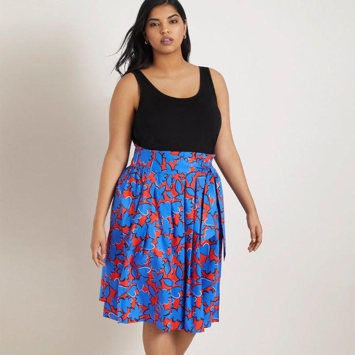 Eloquii 22 Paper Bag Waist Midi Skirt