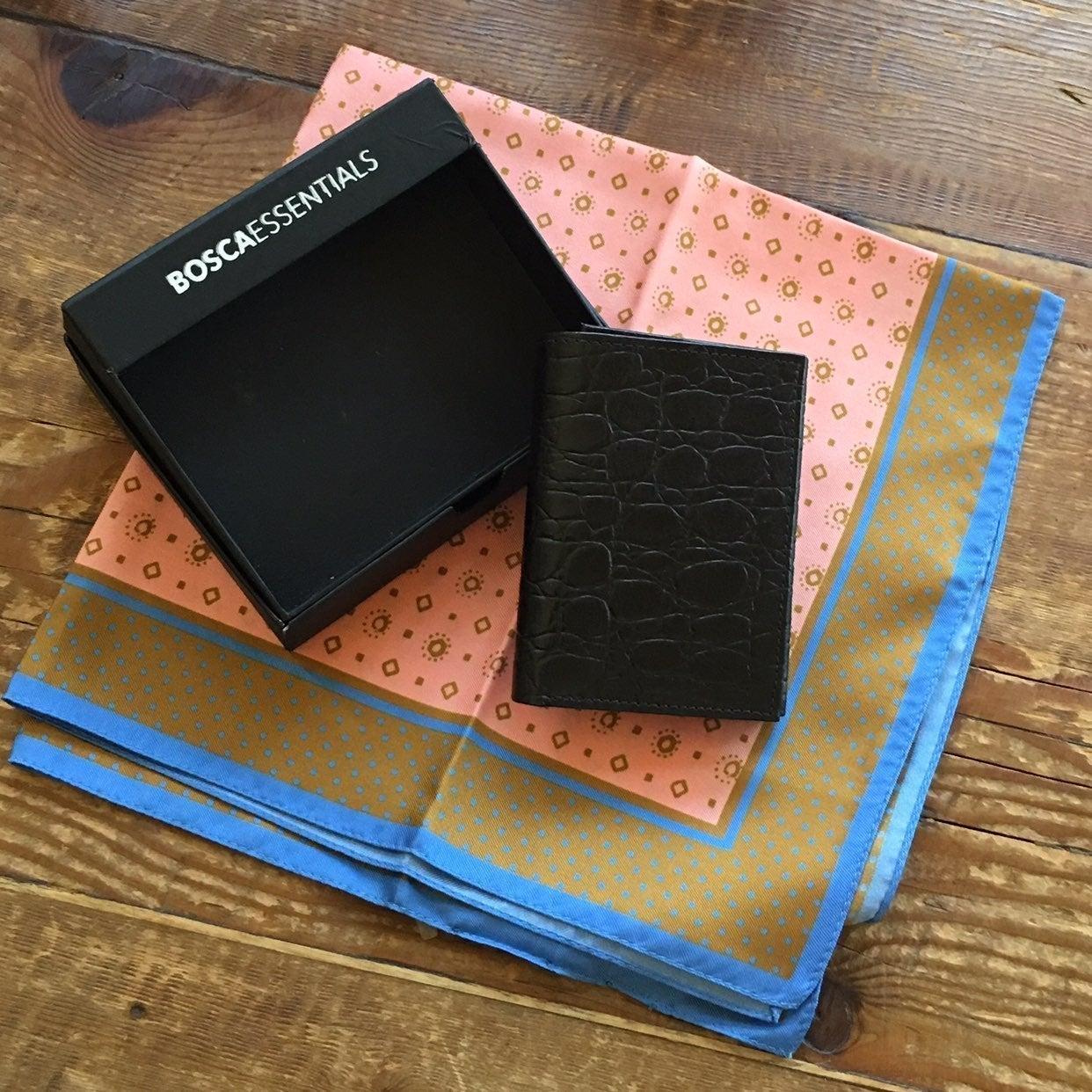 Bosca Leather Wallet & J. Crew Silk Sq