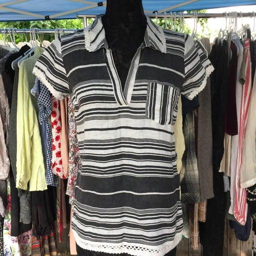 CALYPSO St Barth 100% linen top blouse s