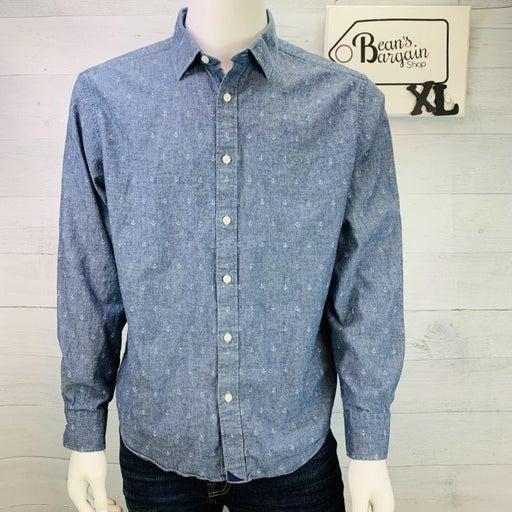 UNTUCKit Mens Shirt Chambray Anchor Print Long Sleeve Button Front Size XL