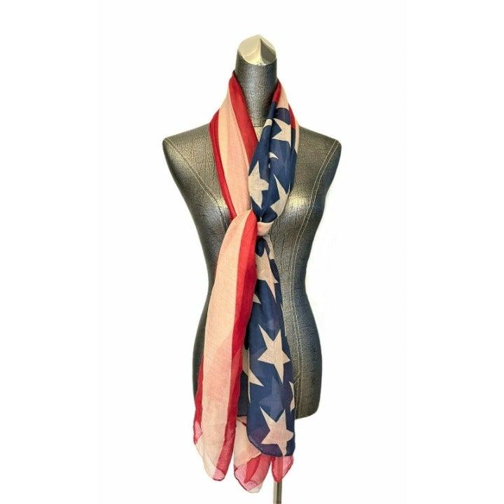 Rikka US Flag Stars & Stripes Wrap Scarf NWT