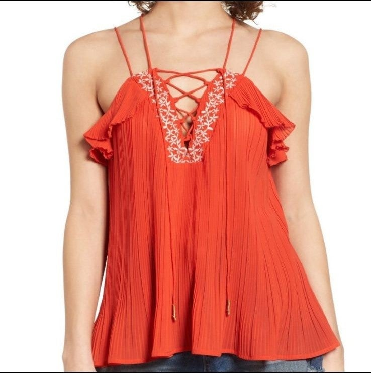 Moon River Pleated Lace-up Tank Top Sz X