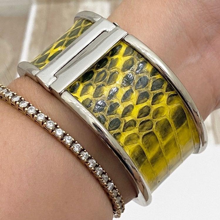 Ann Taylor Yellow Snakeskin Silver Bangl