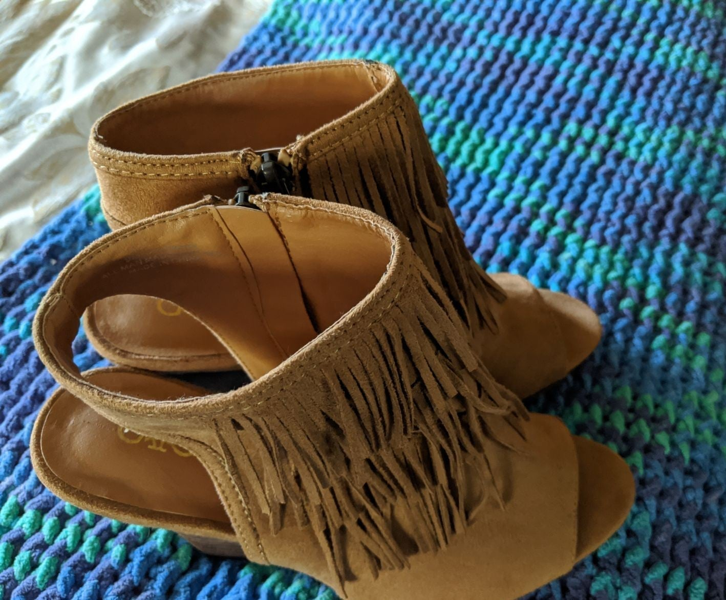 TAN SUEDE W/ FRING WEDGE