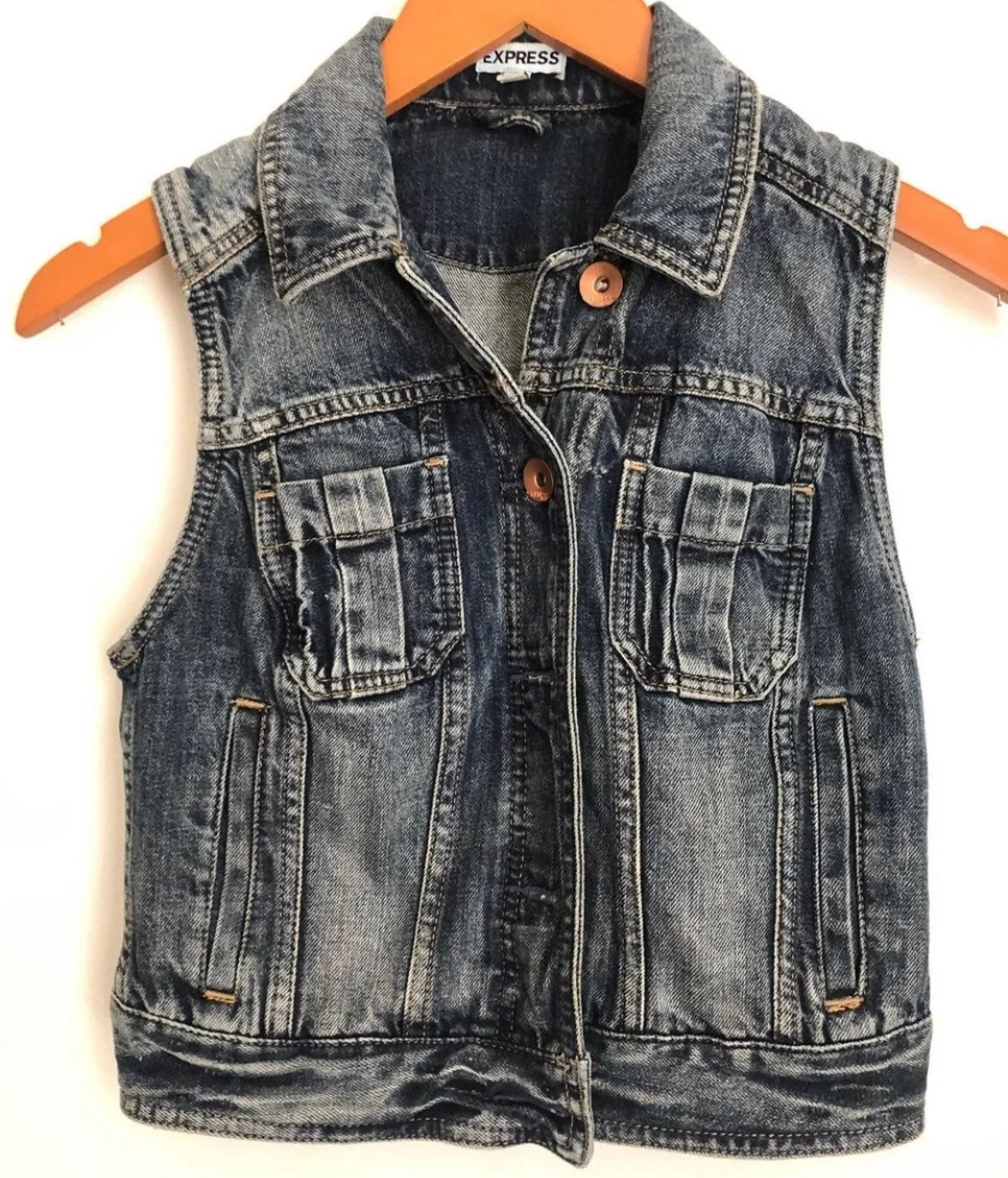 Cropped Denim Vest XS