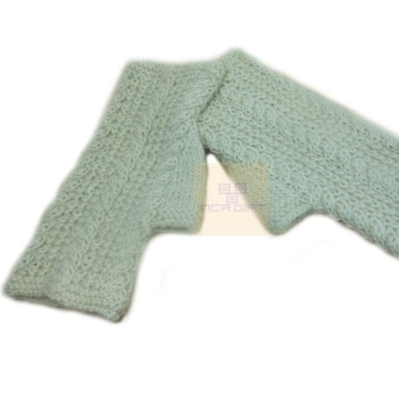 White Handmade Alpaca Fingerless Gloves