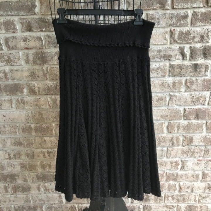 Anthropologie Moth Black Crochet Skirt