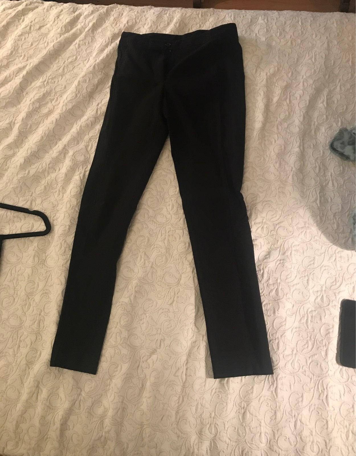 Black skinny leg slacks