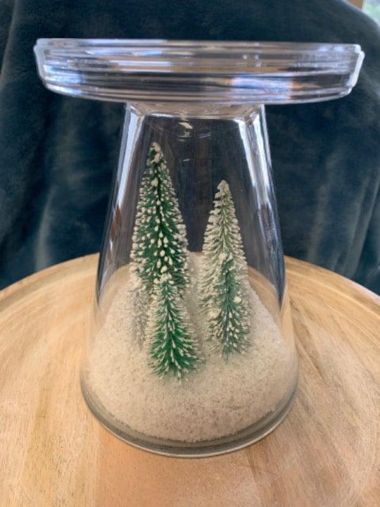 BBW Snowy Forest glass 3 wick holder