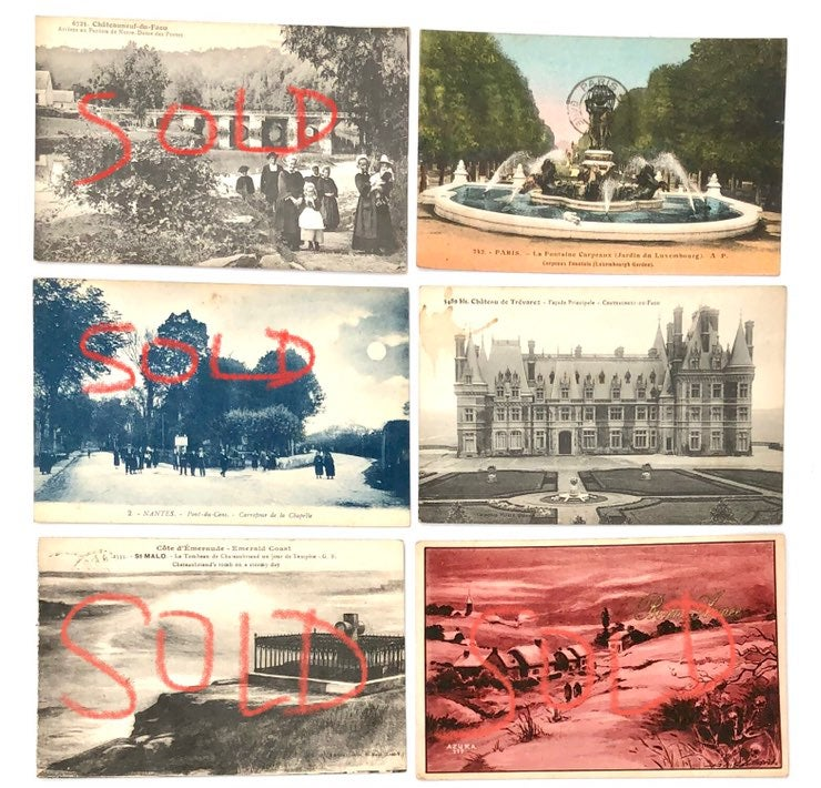 Vintage Postcards From France & Stickers