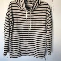57c5e35b787ef0 Black Striped Pullover Sweatshirt - Sz L. LOFT