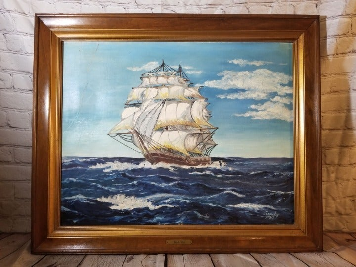 Vintage Hensley 1967 Sailboat Ship Paint