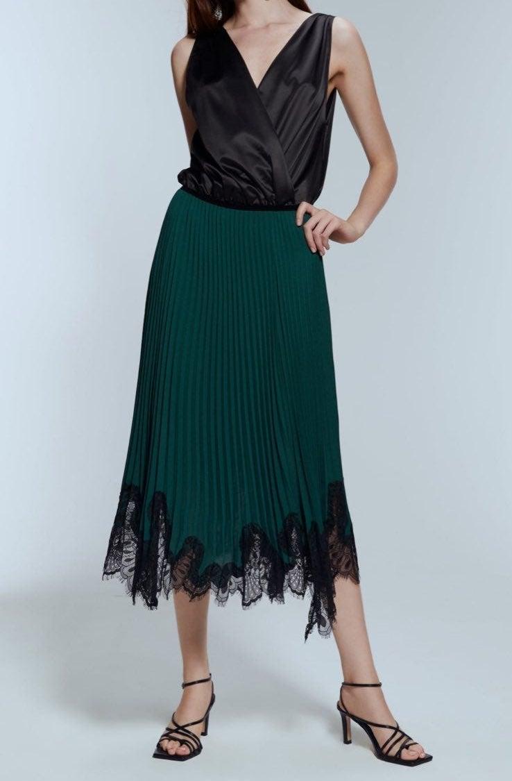 NWT zara skirt green midi pleat lace xs