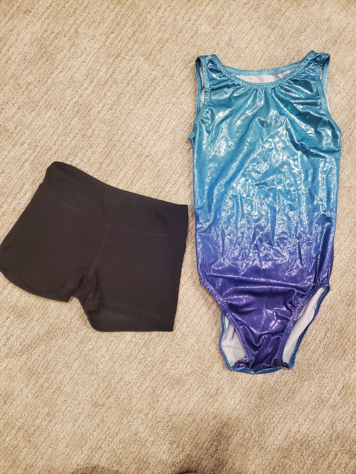 Girls gymnastics leotard and shorts