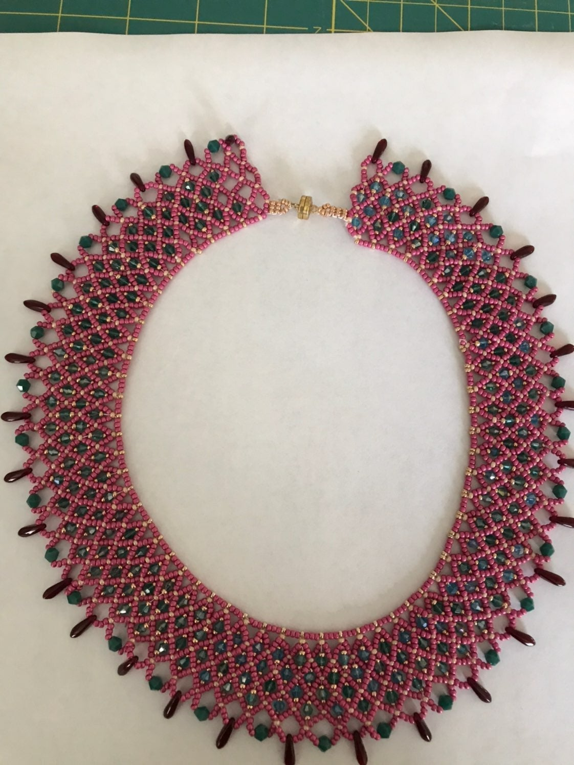 RBG style beaded necklace rose, teal and