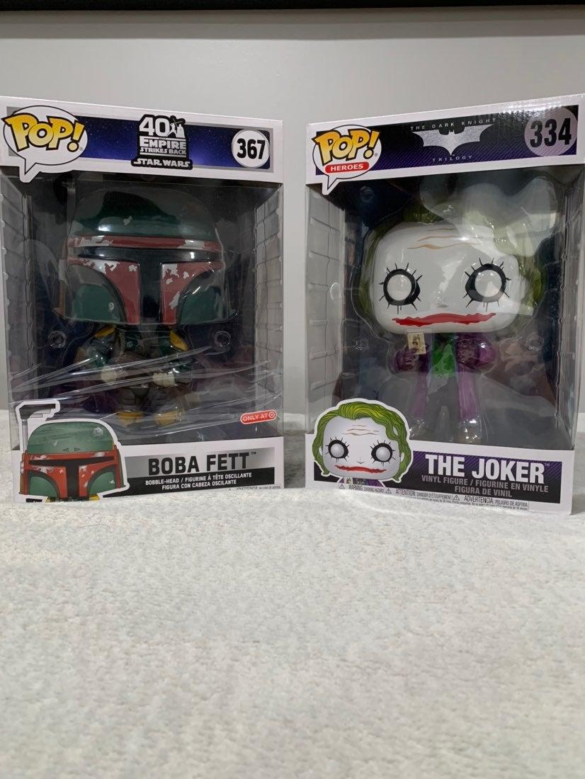 Boba Fett and Joker 10 in Funko Pops