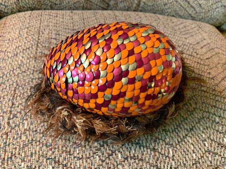 """Large 7"""" Fire Dragon Egg w Basket"""