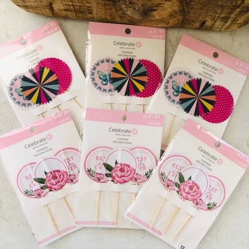 cupcake toppers floral & prints