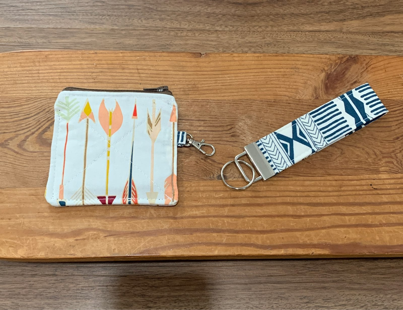 Coin pouch and key fob set | arrows