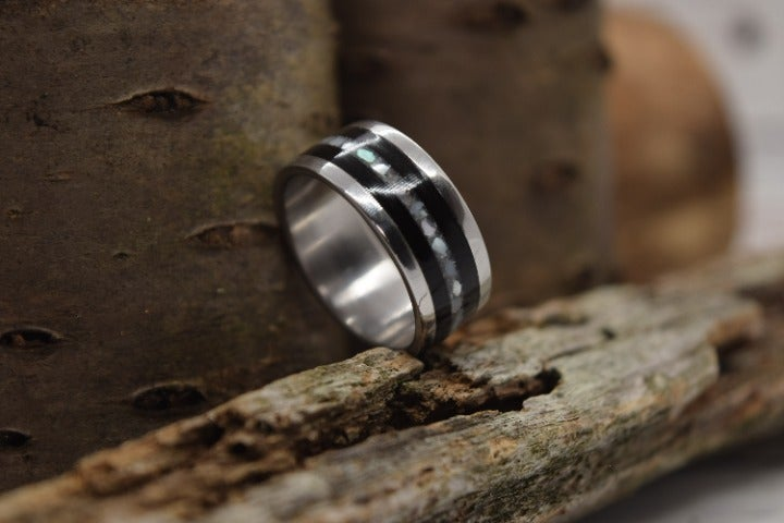Stainless Steel, Mother Of Pearl And Black Maple Ring, Size 11, Ready To Ship