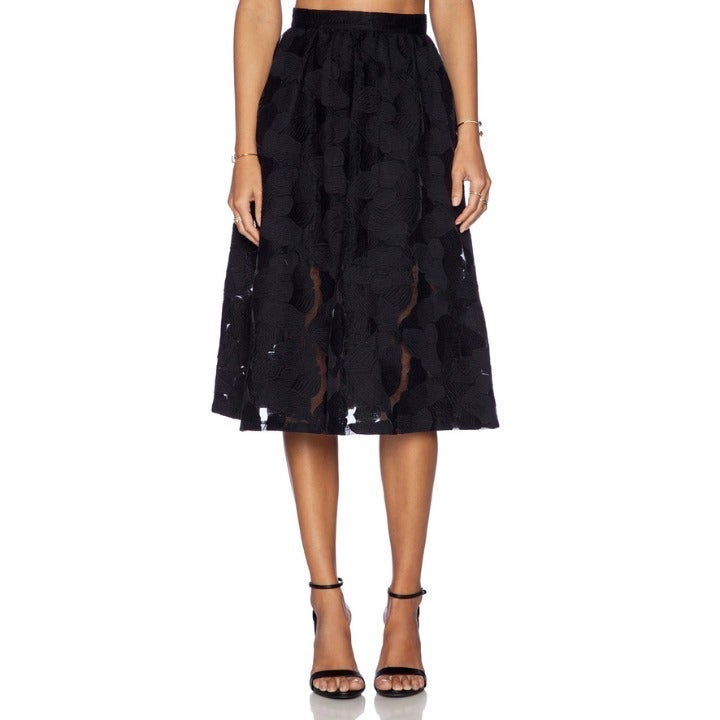 Sam Edelman Lace Embroidered Midi Skirt