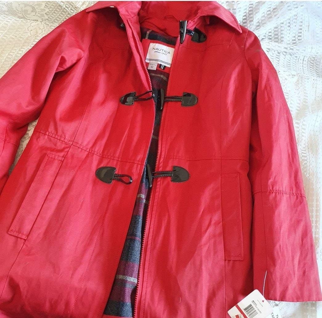 Red Nautica peacoat/trenchcoat with hood