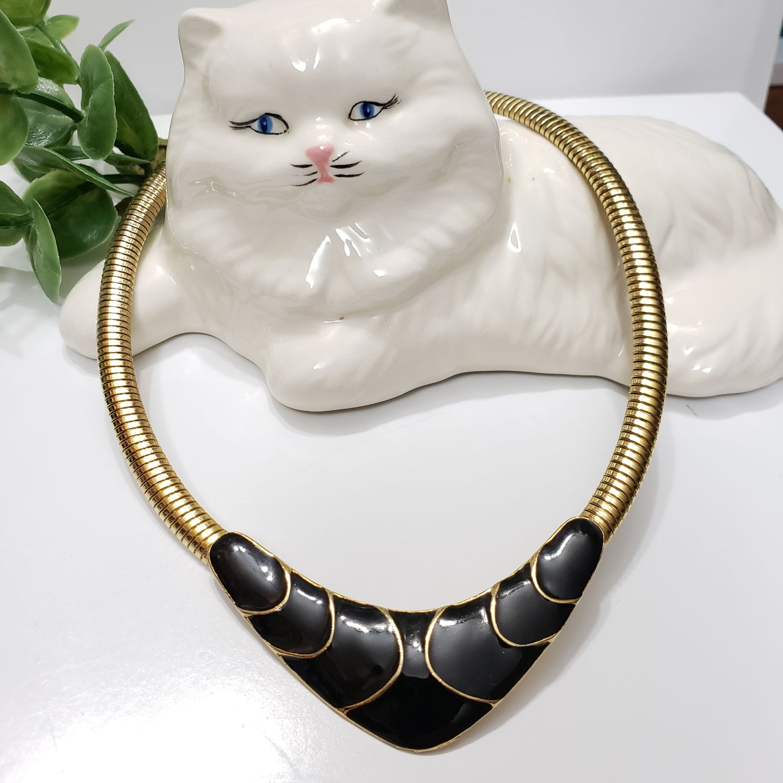 Gold & Black Enamel collar Necklace