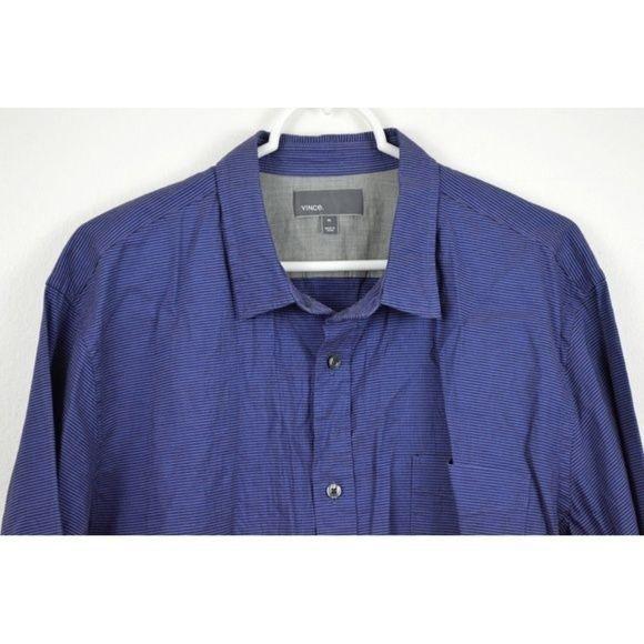 Vince XL Striped Cotton Linen Shirt