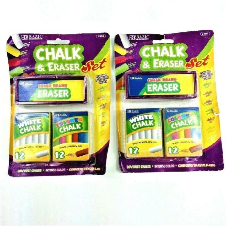 2 Pack BAZIC Chalk Board Chalk + Erasers