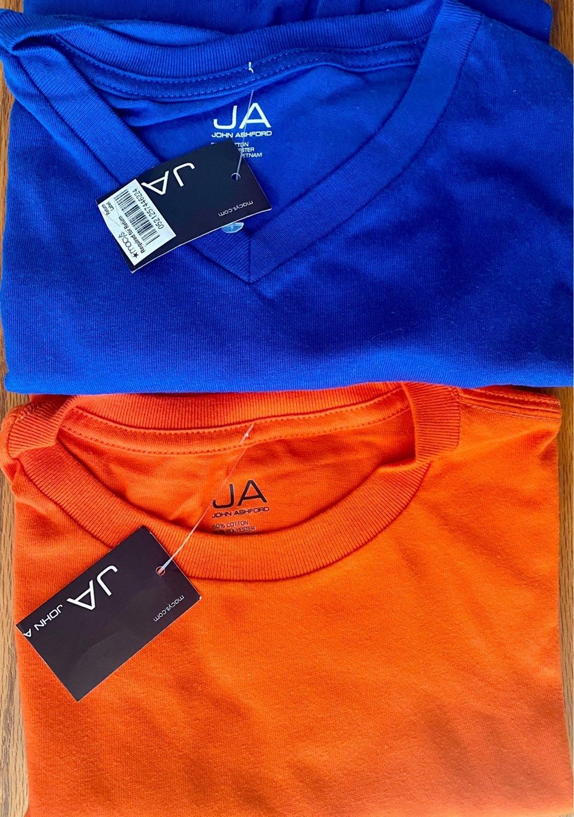 NEW! Lot (2) Men's Orange Blue T-Shirt S