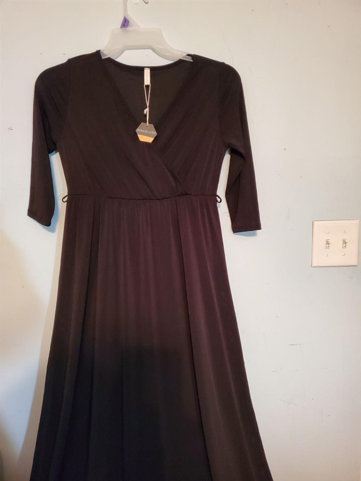 Pinkblush black v-neck dress