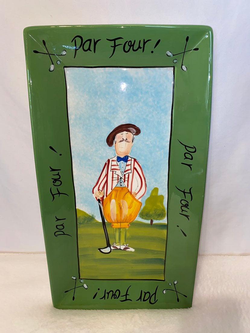 Tracy Flickinger Par Four Golf Platter C