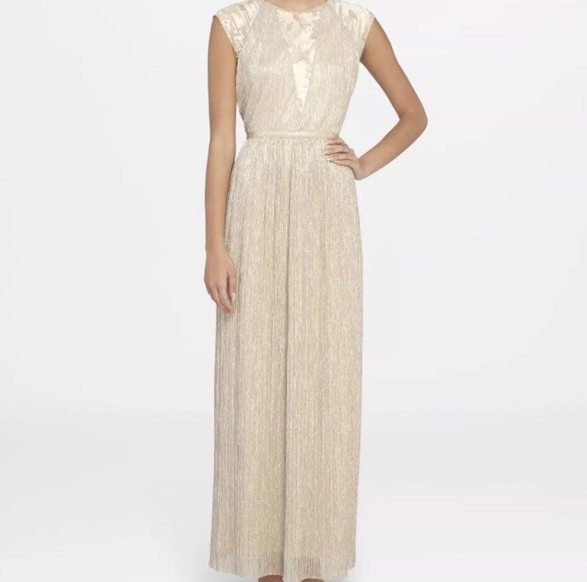 NEW Tahari ASL Gold Column Dress Sz 10
