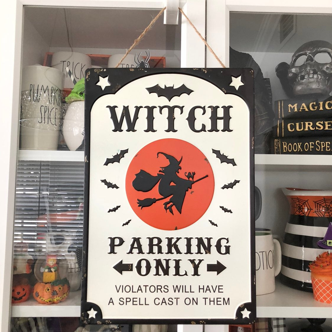 Halloween Witch Parking Tin Wall Sign