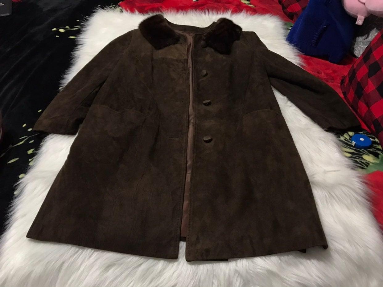 Vintage Suede Leather Fur Coat