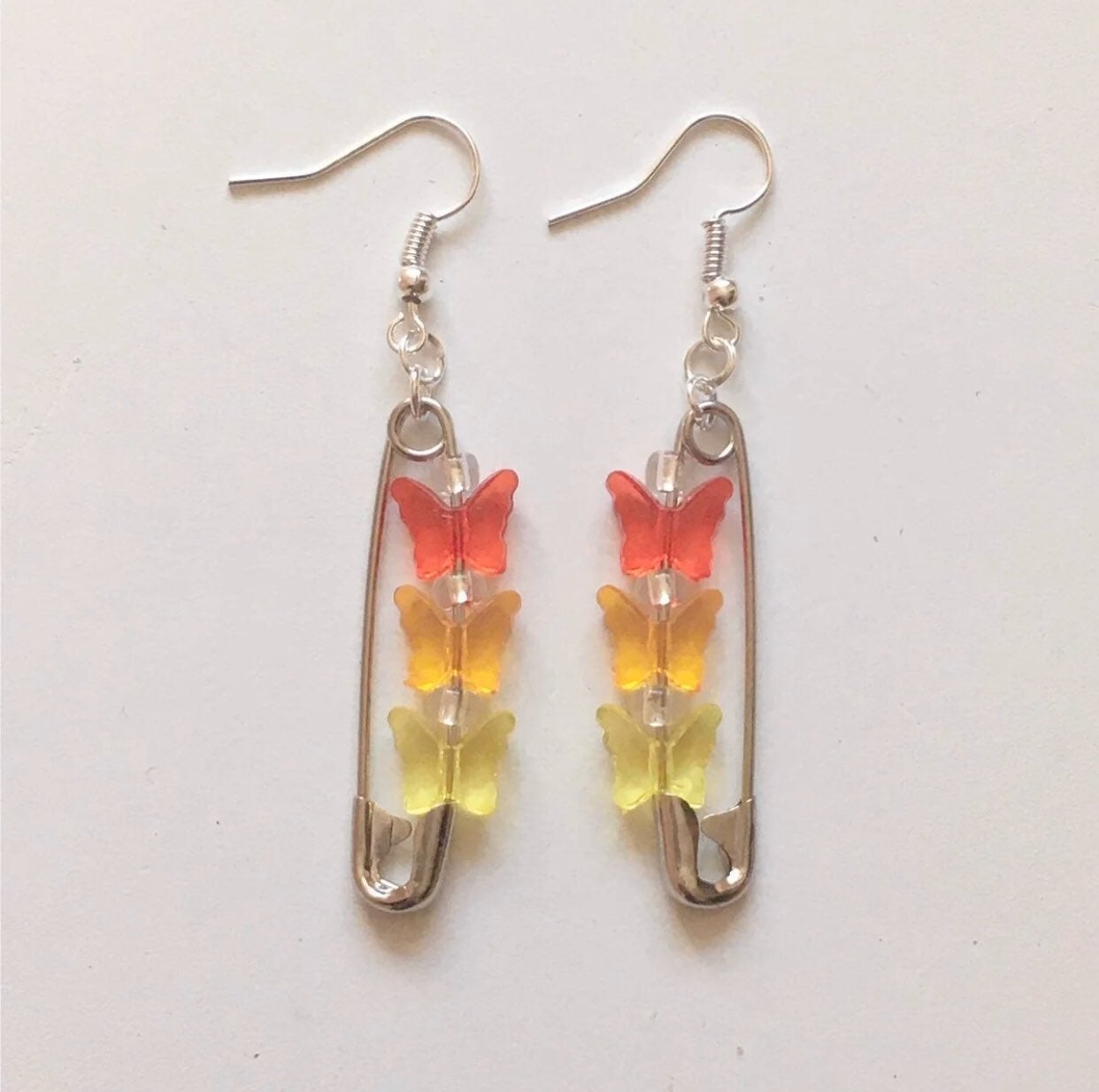 butterfly safety pin earrings