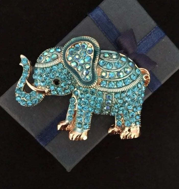 Elephant Rhinestone Brooch Betsey