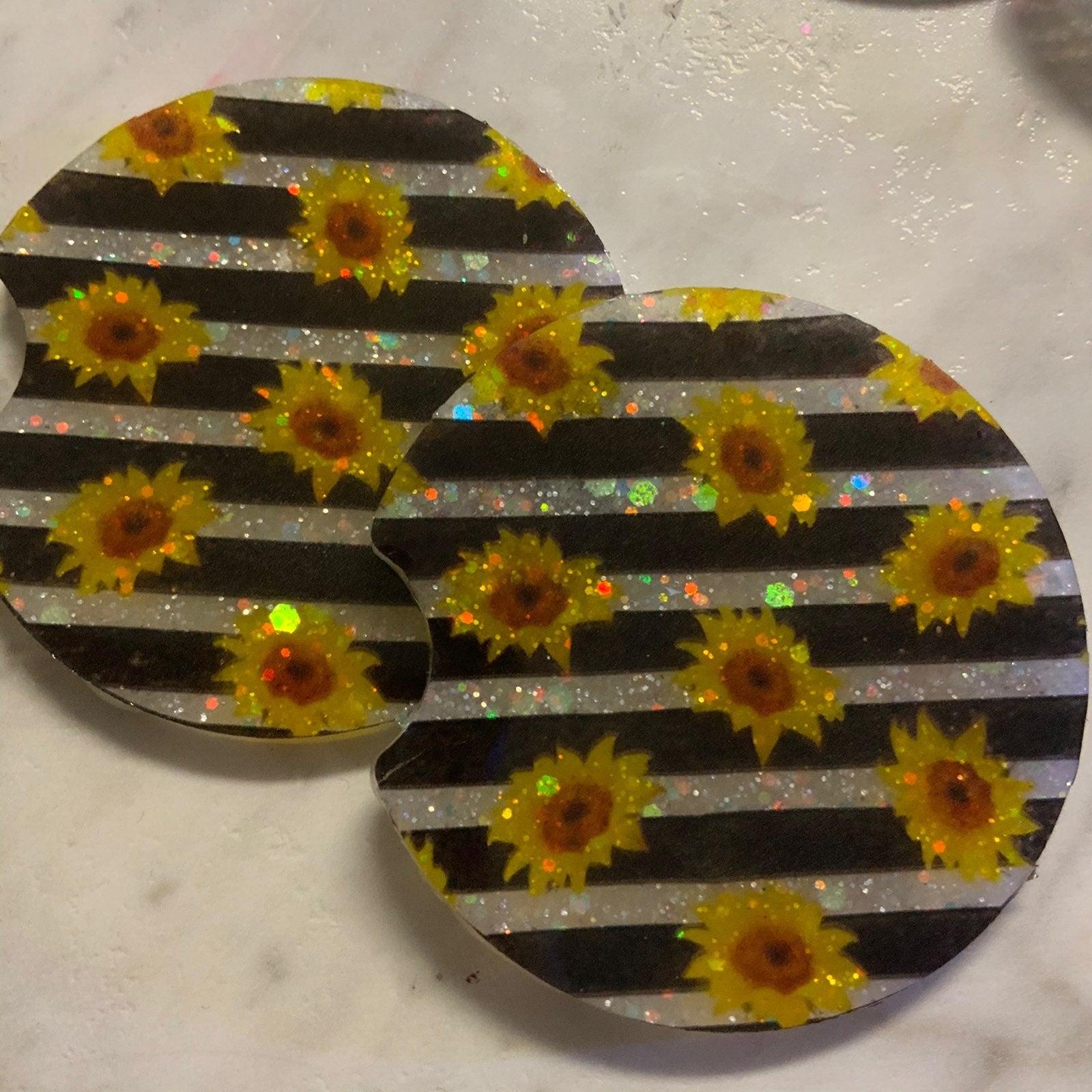 Sunflower glitter car coaster set
