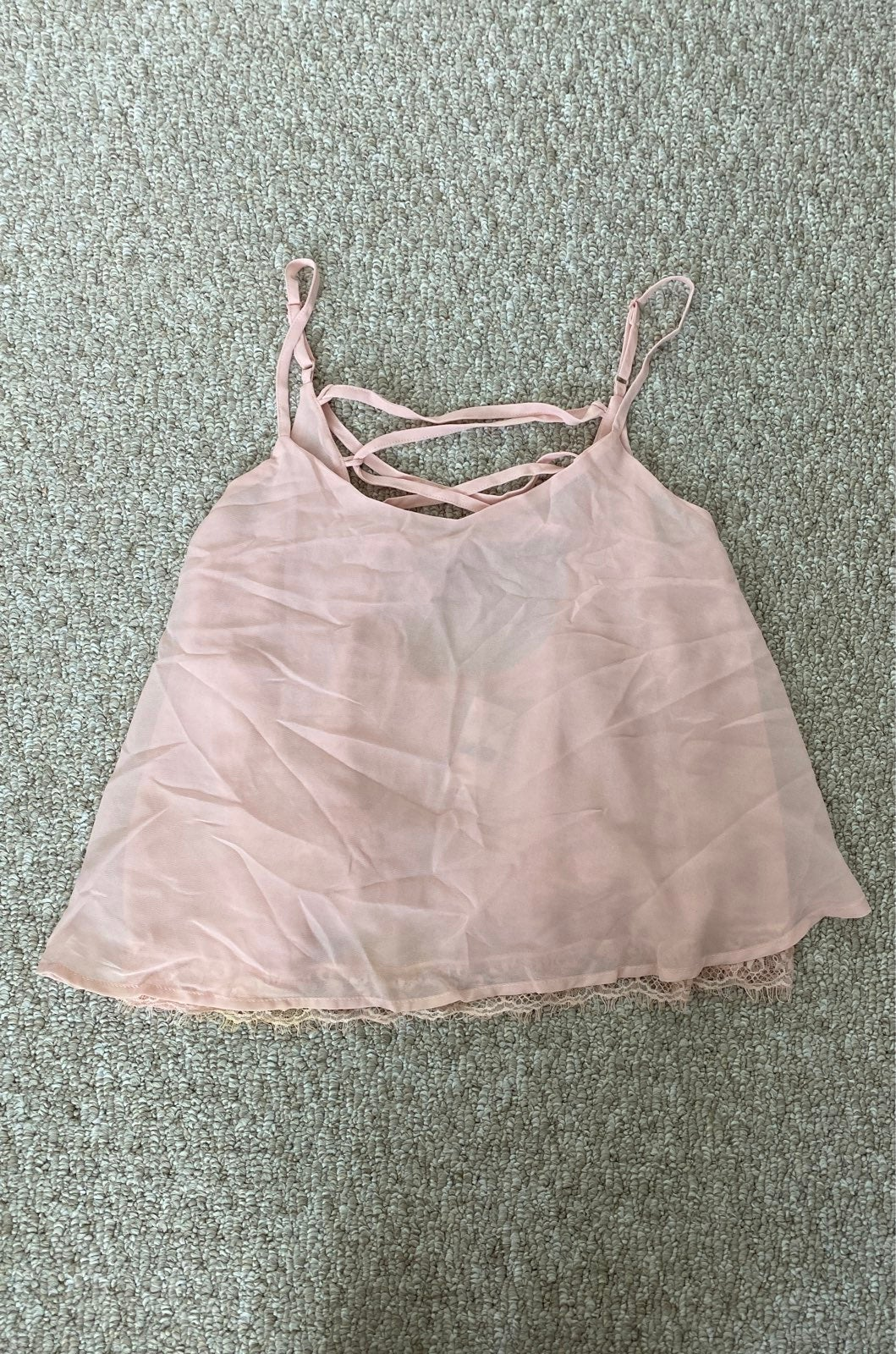 Pink Laced Up Criss Cross Cami Tank Top