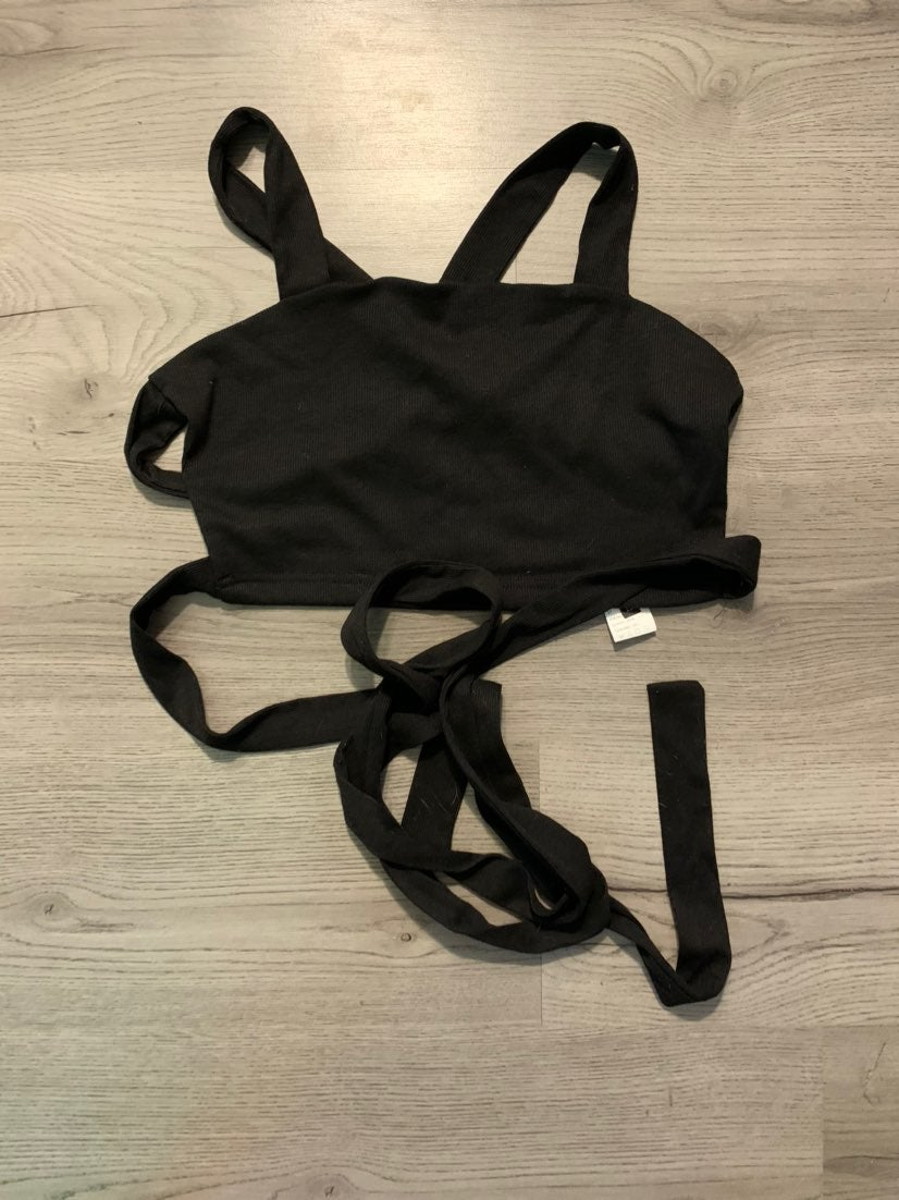ROMWE Cropped Black Tank with wrap back