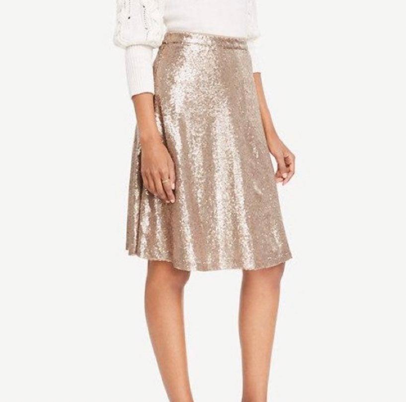 Ann Taylor Gold Sequin Skirt 0p A-Line